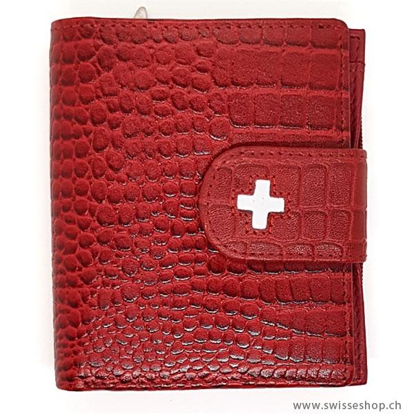 Portemonnaie Leder Kroko Prägung
